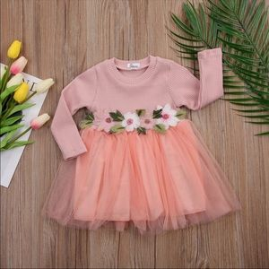 Other - Knitted Floral Tutu Dress (Peach)